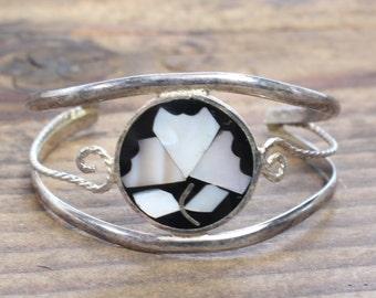 Mexico Inlay Alpaca Silver Bracelet