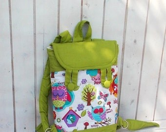 kid backpack- toddler backpack with owl in olive green, apple green, night owl, back to school, kindergarten, kids,