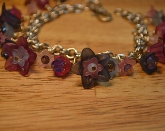 SALE Pink and Purple Floral Spring Wild Flowers Bracelet