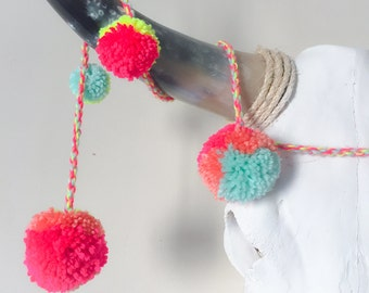 Multicolor neon mint, pink, yellow, coral bulky wool pom pom garland - 8ft - colorful wall decoration nursery, living room
