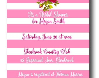 Pink and White Stripe Rose Garden Party Printable Invitation
