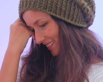 EXPRESS SHIPPING to US, Canada! Green crochet beanie hat, chunky slouchy winter hat, merino wool soft beanie, women winter accessories