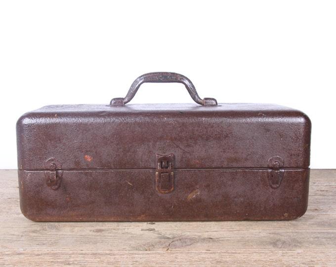 Vintage Metal Tackle Box / Old Rusted Tackle Box / Fishing Box / Antique Metal Tool Box / Industrial Box / Metal Storage Box / Display Prop