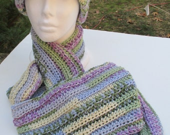 Crochet Hat and Scarf Set - Water Color Pastels - Soft Variegated Acrylic Yarn