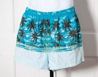 Vintage Swimming Trunks - beach scene palm trees cloth