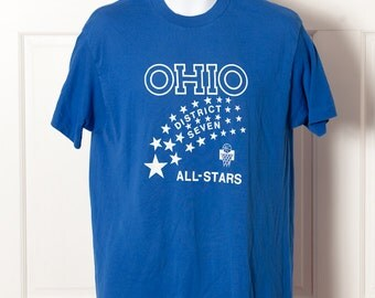 Vintage OHIO ALL STARS - blue basketball shirt - #25