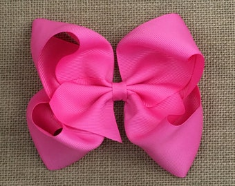 Boutique Bow - Hot Pink Girls Hair Bow - 5 inch Hair Clip - Boutique Bow - Baby, Toddler, Girl,