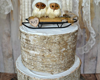 Masked owl winter Christmas wedding cake topper winter hats sled riding rustic winter weddings decorations Mr and Mrs personalized barn owl