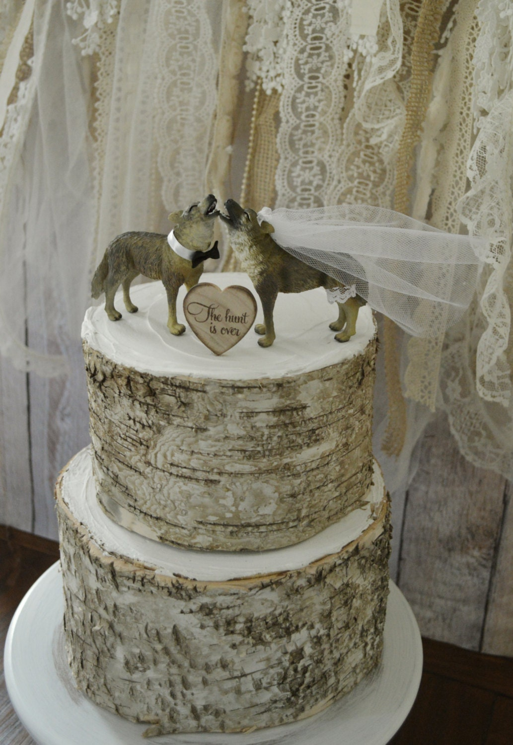 wolf wedding cake topper howling wolf native American themed
