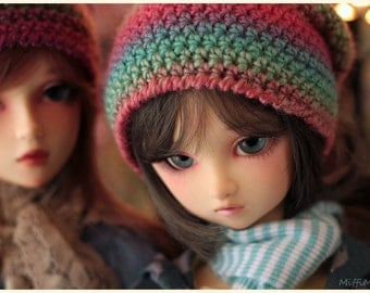 Delf Feeple60 Volks SD13 - Coral Rainbow Slouch Beanie Hat for ABJD Super Dollfie type Doll