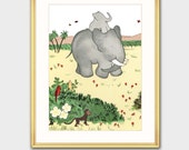 """Babar Print w/Mat, Babar the Elephant (Elephant Baby Shower Gift, Nursery Wall Decor) Matted Babar Print --- """"Riding Happily"""""""