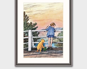 """Winnie the Pooh Art w/Mat (Book Lover Gift, Baby Nursery Decor) Classic Pooh Nursery --- """"Pooh Sticks Game"""" Matted Print"""