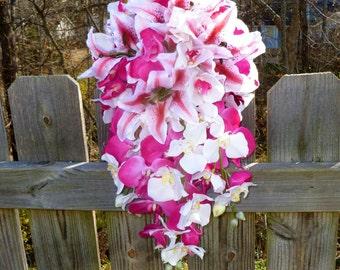 Hot pink Orchid and tiger lily cascading bouquet, artificial cascade bouquet, teardrop bouquet, orchid bridal bouquet