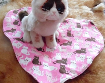 """Cat Blanket. Pink and Red Heart Shape. """"Love You Kitty"""""""