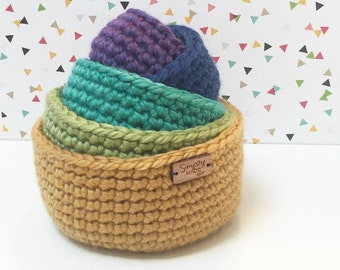 Crochet Nesting Bowls / Crochet Bowls / Storage Bowls / Rainbow Bowls (Set of 5) / Jewelry Dish / Stacking Bowls / Home Decor