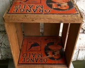Wood Box Crate with Advertisement Orange Maid, with sections