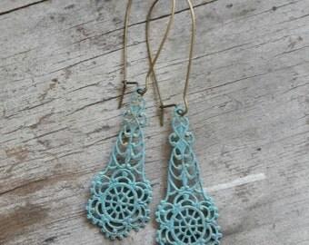 Turquoise Earrings Filigree  Brass Bohemian Lond Earrings