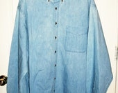 Vintage Men's Blue Chambray Denim Shirt by Land Ends XL TALL Only 10 USD