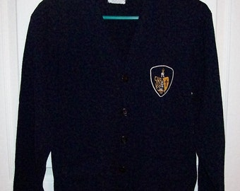 Vintage Navy Blue School Girl Uniform Cardigan Sweater by Chapel Hall Medium Only 10 USD