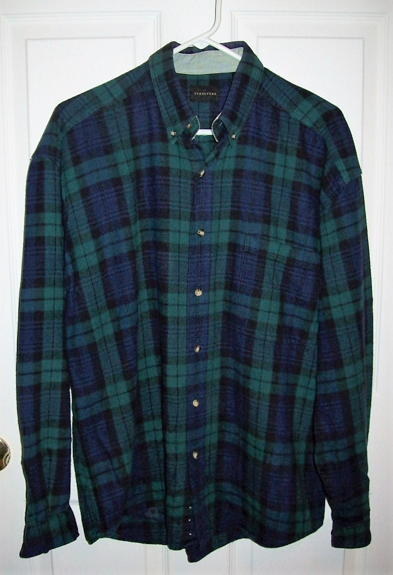 Vintage Men 39 S Green Navy Plaid Flannel Shirt By