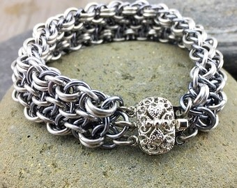 Woven Chainmaille Bracelet with Filligree Clasp in Gunmetal and Silver - Ready To Ship
