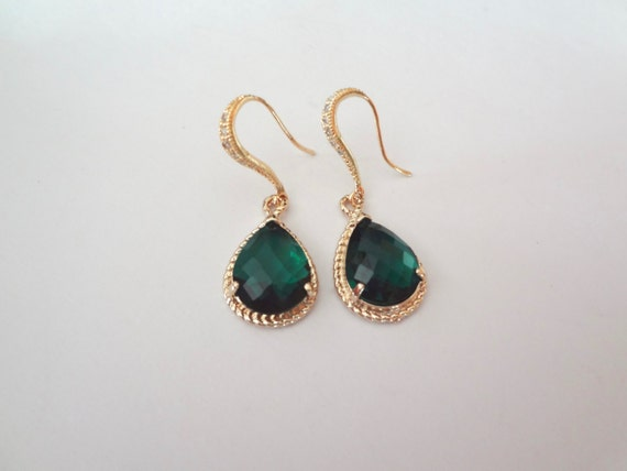 Emerald earrings - Czech glass -14k Gold over Sterling Cubic Zirconia encrusted earwires - Beautiful high Quality jewelry -