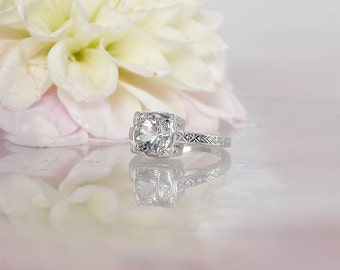 Antique Style Ring, Herkimer Diamond Ring, Traditional Antique Ring, Herkimer Sterling Silver Ring, Conflict Free Ring