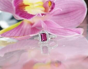 Pink Tourmaline Ring, Pink Tourmaline Sterling Ring, Natural Pink Tourmaline Ring, Tourmaline Ring, Pink Gemstone Ring, Pink Tourmaline