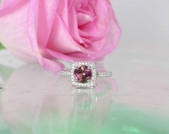 Zircon Ring, Natural Zircon, Pink Zircon Ring, Sterling Silver, Natural Gemstone Ring, Diamond Alternative, Halo Ring