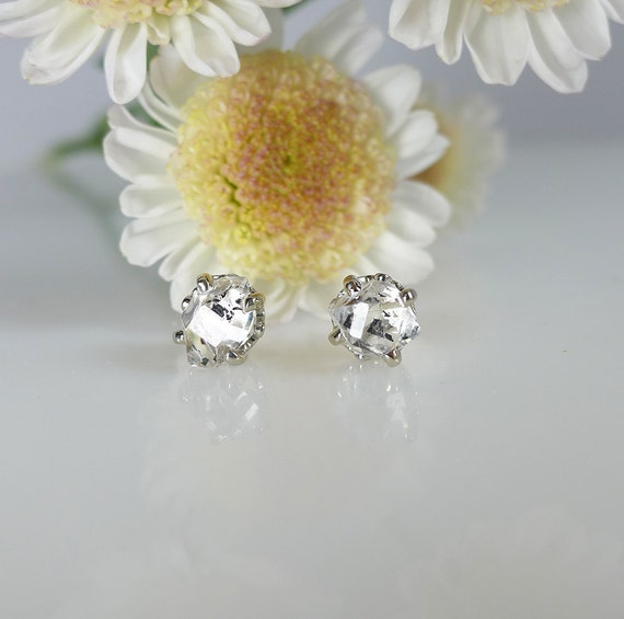 Herkimer Diamond Raw Crystal Earrings