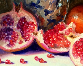 Art Print of GRANATE UIT my TUIN, delft and pink, unique fruit, classic painting
