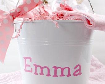 Girls Personalized Enameled Metal Bucket, Newborn Baby Gift Basket, New Mom Personalized Gift, Personalized Baby Shower Gift Bucket