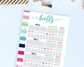 Monthly Bill Tracker Printable, Bill Pay Organizer, Bill Pay Tracker, Bill Organizer, Bill Planner, Personal Filofax Inserts, Personal Size
