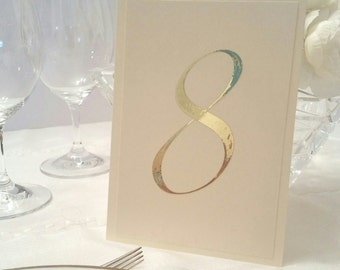 Gold Foil Table Number, Ivory Table number with Gold Number, Gold Table number,Paper Table number