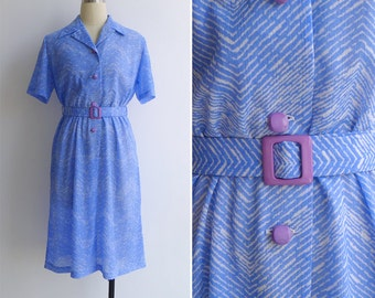 Vintage 80's Chevron Stripe Periwinkle Blue Shirt Dress L or XL