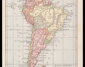 Small South America Map of South America Art (Vintage Atlas Wall Art Print, 1900s Antique Wall Decor) Vintage Old Color Map No. 121-3