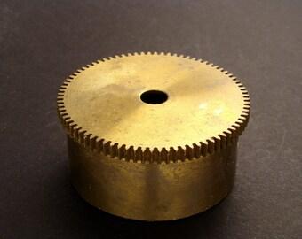 Large Brass Cylinder Gear, Mainspring Barrel from Vintage Clock Movement, Vintage Clockwork Mechanism Parts, Steampunk Art Supplies 03892