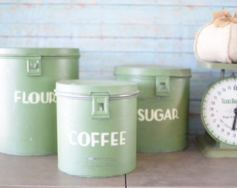 Vintage Set of Nesting Collectible Green Kitchen Canisters
