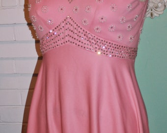Vintage Dress 70s Dusty Pink Rhinestone Pearl Studded Party Frock- Empire Waist-  New Years Dress   L XL Plus Size