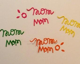 """Handmade, 8 Mom Words, Flowers, Leaves, Green, Yellow, Pink, Dark Pink, 2 1/4"""", 1 1/4"""", Embellishments, Handmade, Die Cuts"""