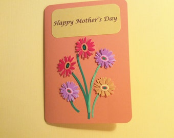 "Handmade, Orange, Mother's Day Card, Flowers, 5"" x 7"","