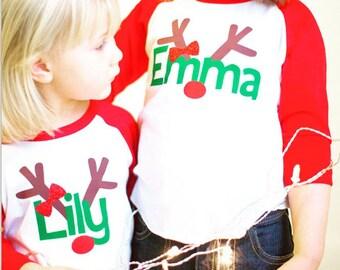 girls reindeer shirt, kids christmas shirt, personalized reindeer shirt