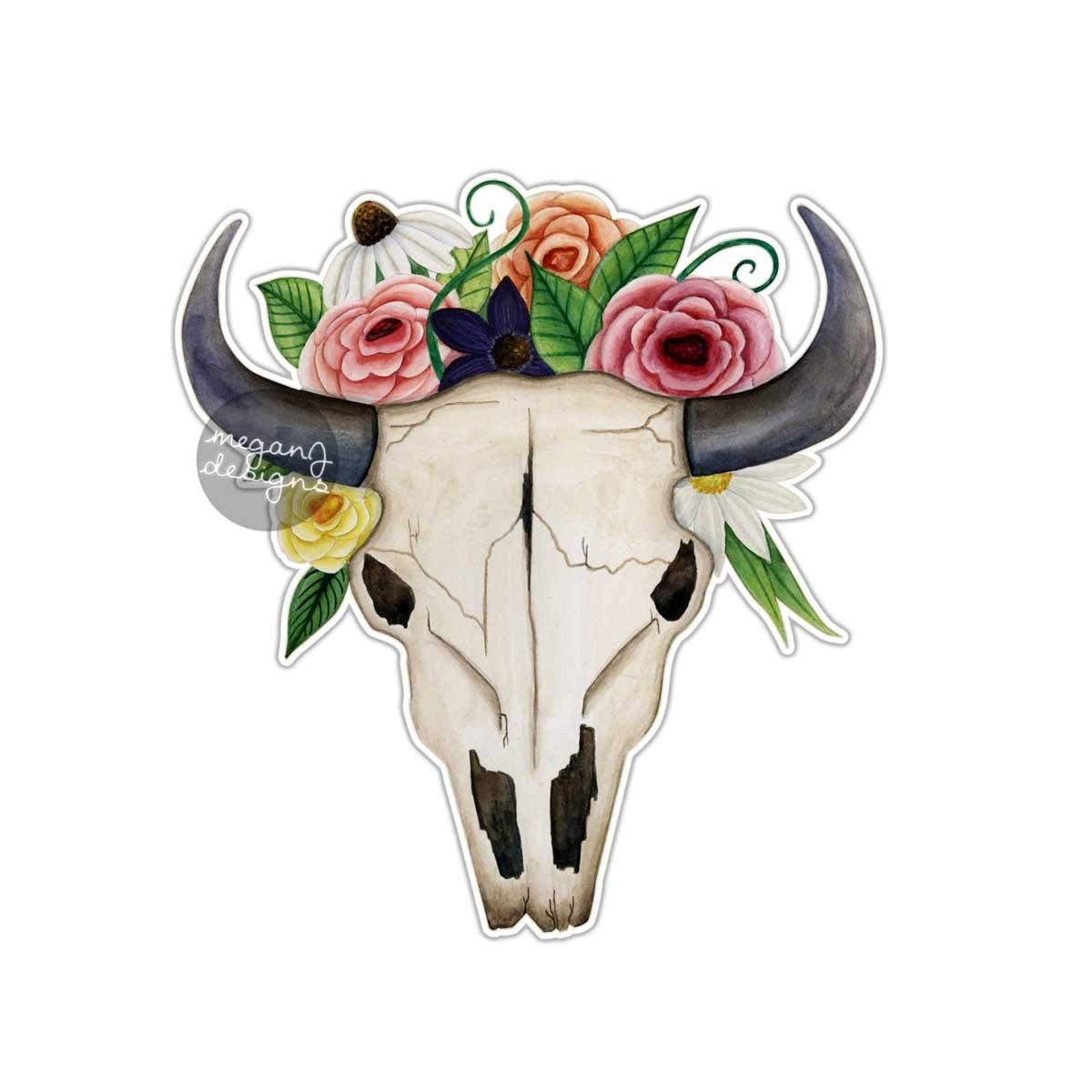 Bull Skull With Flowers Sticker Cow Longhorn Skull Car Decal
