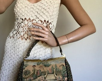 vintage 1960s Tapestry Purse flower handbag carpet bag Walking Figures Goldtone Frame and Clasp