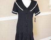 90's Vintage Dress - Black & White Sailor / School Girl Dress Size 5 / 6 - Indie Dress - Drop Waist Pleated Skirt 1920's Dress