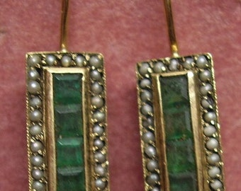 Estate  14KT Natural Emerald and Seed Pearl Earrings