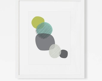 "Mid Century Art Print - Blue and Green Artwork - Abstract Geometric Wall Art - 5x7"", 8x10"", 11x14"" Vertical Art for Nursery, Office"