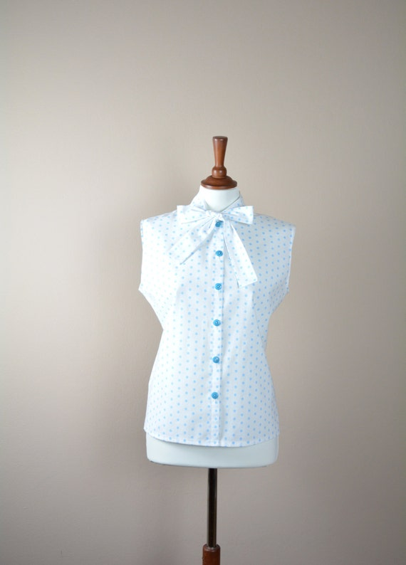 Polka dot sleeveless shirt, white blouse, polka dot camisole, white shirt, 50s inspired tshirts, camisole, womens top, cotton top