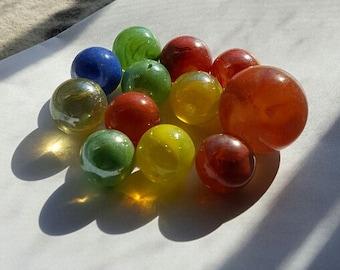 12 Glass Marbles, Vintage --  VP216
