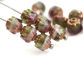 6mm Fancy Cathedral Czech Glass beads, Mixed Purple Green color, Golden ends, fire polished, round - 15Pc - 0420